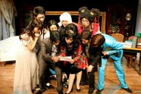 Front: Joyce Cece Chan (Henriette), Yolanda So (Charles), Minna Cheung (Pamela), Agnes Hio (Cedric), Joseph Lin (C.Y. Tang); back: Christopher Tsui (Sebastian), Ines Kwai-pun (Ah Lin), David Parker (The Notary) and Francis Chan (Bernice)