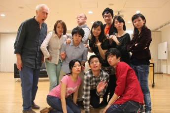 Front: Joyce Cece Chan (Henriette), Francis Chan (Bernice), Christopher Tsui (Sebastian); back: David Parker (producer/The Notary), Ines Kwai-pun (Ah Lin/Servant/Y.Y.'s Valet), Yolanda So (Charles/Y.Y. Leung), Julian Lamb (director), Minna Cheung (Pamela), Joseph Lin (C.Y. Tang), Agnes Hio (Cedric), Rosalind Wong (Justine)